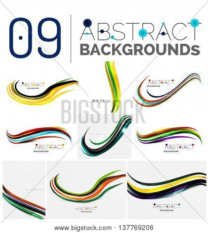 Collection of wave abstract backgrounds - color curve stripes and lines in various motion concepts and with light and shadow effects. Presentation banner and business card message design template set