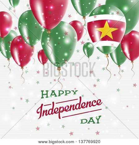 Suriname Vector Patriotic Poster. Independence Day Placard With Bright Colorful Balloons Of Country