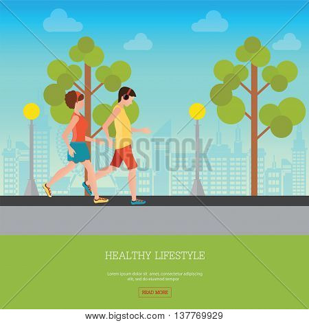 Man and Woman Jogging Together on city view background Running Man and Woman Outdoor Jogging Couple healthy lifestyle conceptual vector illustration.