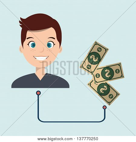 man with whit currency isolated icon design, vector illustration  graphic