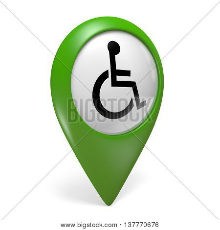 Green map pointer icon with wheelchair symbol for handicapped people, 3D rendering