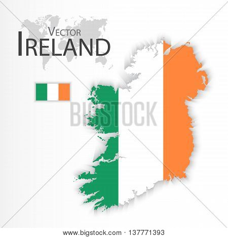 Ireland ( Republic of Ireland ) ( flag and map ) ( transportation and tourism concept )