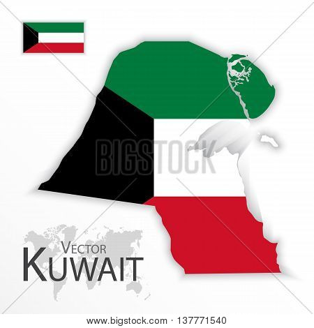 Kuwait ( State of Kuwait ) ( flag and map ) ( transportation and tourism concept )