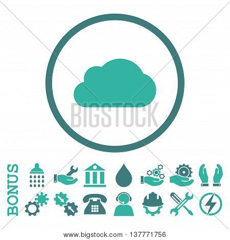 Cloud glyph bicolor icon. Image style is a flat pictogram symbol inside a circle, cobalt and cyan colors, white background. Bonus images are included.