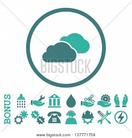 Clouds glyph bicolor icon. Image style is a flat pictogram symbol inside a circle, cobalt and cyan colors, white background. Bonus images are included.