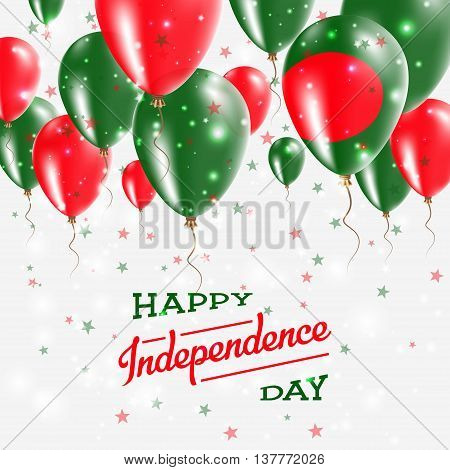 Bangladesh Vector Patriotic Poster. Independence Day Placard With Bright Colorful Balloons Of Countr