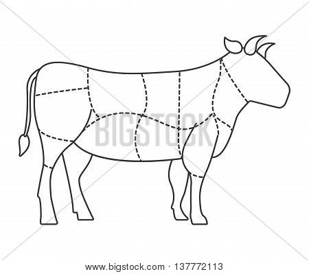 cow meat isolated icon design, vector illustration  graphic
