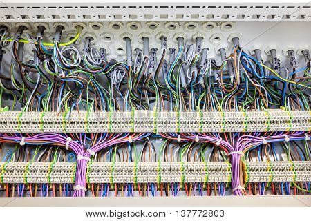 in an fuse box there are an lot of electrical cables with tar