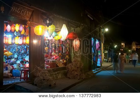 HOI AN, VIETNAM, February 24, 2016 Hoi An ancient town, Quang Nam province, world heritage, at night