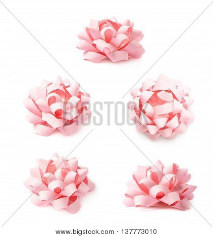 Decorational pink ribbon gift bow isolated over the white background, set collection of five diffirent foreshortenings