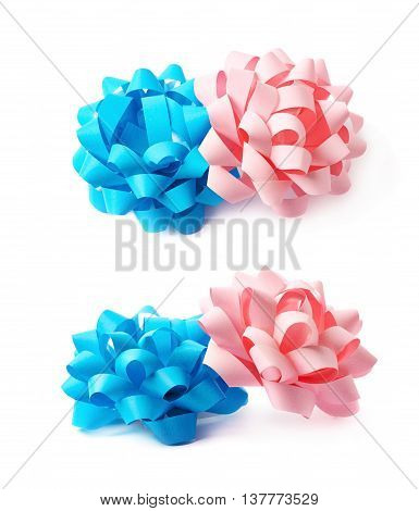 Two decorational pink and blue ribbon gift bows, composition isolated over the white background, set collection of two diffirent foreshortenings