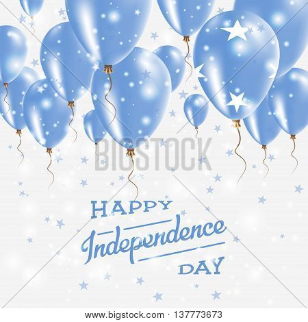Micronesia, Federated States Of Vector Patriotic Poster.. Independence Day Placard With Bright Color