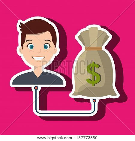 man with bag money isolated icon design, vector illustration  graphic