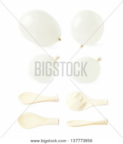 Inflated and deflated rubber air balloons isolated over the white background, set collection of multiple different foreshortenings