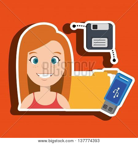 people with drive and usb isolated icon design, vector illustration  graphic