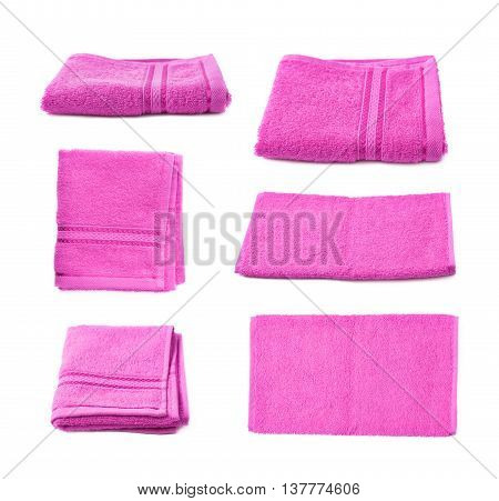 Single purple pink terry cloth towel isolated over the white background, set collection of six different foreshortenings