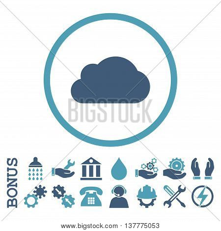 Cloud glyph bicolor icon. Image style is a flat pictogram symbol inside a circle, cyan and blue colors, white background. Bonus images are included.