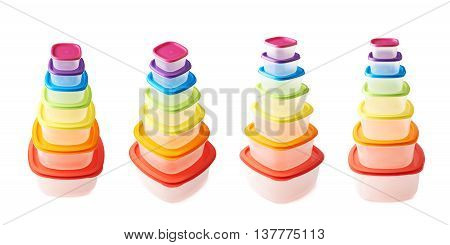Pyramid pile of colorful rainbow colored plastic food containers, composition isolated over the white background, set collection of four different foreshortenings