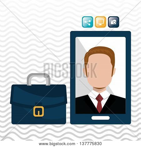executive man and cellphone isolated icon design, vector illustration  graphic