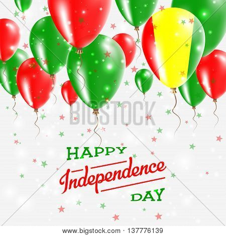 Guinea Vector Patriotic Poster. Independence Day Placard With Bright Colorful Balloons Of Country Na
