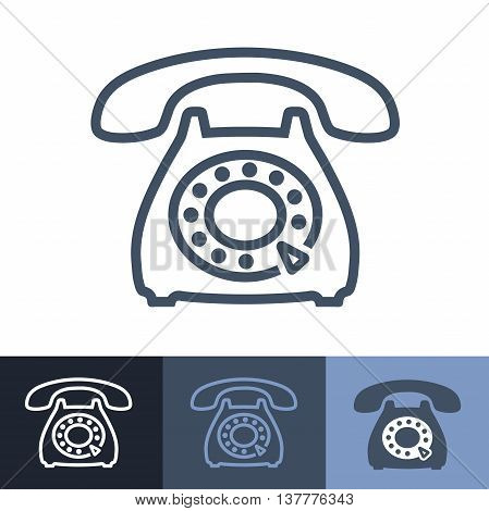 Old Rotary Phone Outline Icon with Rotating Dial