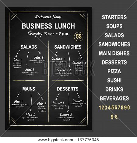 Business Lunch Template on chalkboard, vector illustration