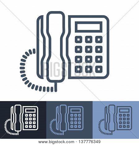Retro Pushbutton Touchtone Office Phone Outline Icon