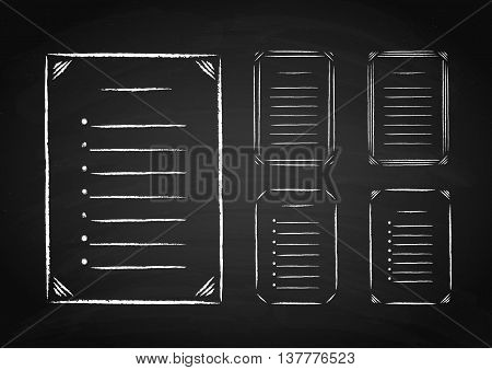 Set of hand drawn frames and lists on the chalkboard. Vector illustration