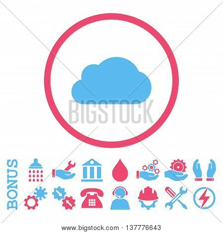 Cloud glyph bicolor icon. Image style is a flat pictogram symbol inside a circle, pink and blue colors, white background. Bonus images are included.