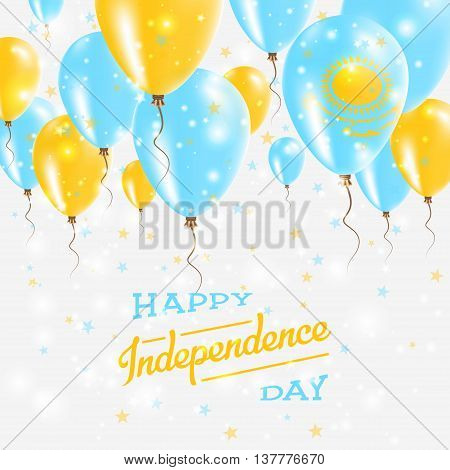 Kazakhstan Vector Patriotic Poster. Independence Day Placard With Bright Colorful Balloons Of Countr
