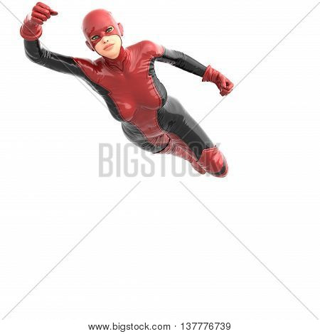 one tall woman in red black super suit. Female flies at  camera. Right hand pointing up. 3D rendering, 3D illustration