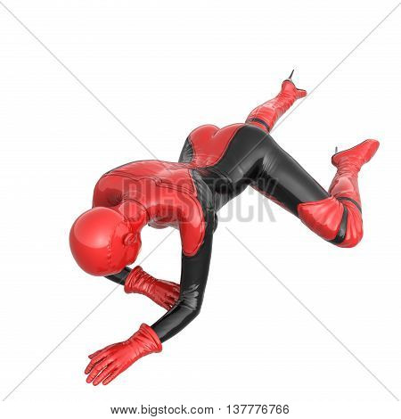one tall woman in red black super suit. Woman crawling to camera. The view from top. 3D rendering, 3D illustration