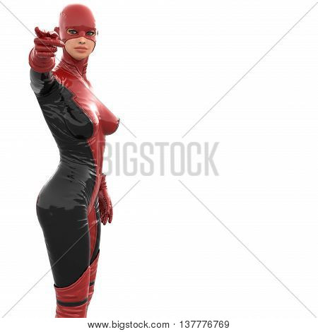 one tall woman in red black super suit. She points at camera with right hand. 3D rendering, 3D illustration