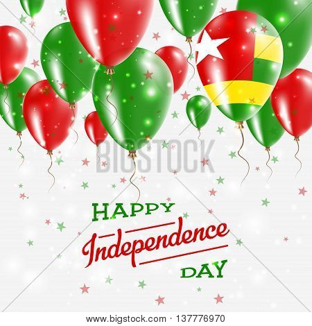 Togo Vector Patriotic Poster. Independence Day Placard With Bright Colorful Balloons Of Country Nati