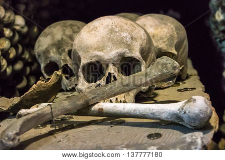 Skulls And Bones In The Bone Church In Kutna Hora