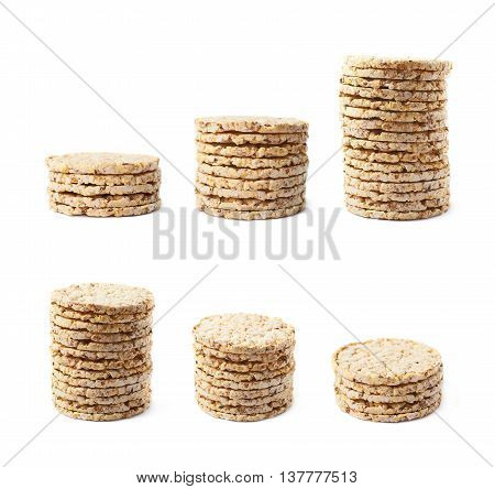 Pile stack of diet rice crackers isolated over the white background, set of six different foreshortenings