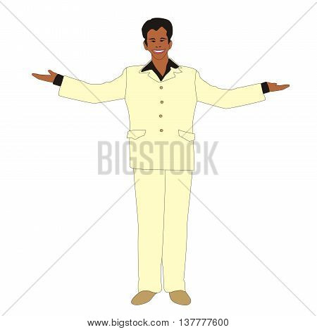 Illustration of a man welcoming with open arms in a light suit isolated on white background