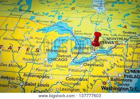 Red Thumbtack In A Map, Pushpin Pointing At Toronto