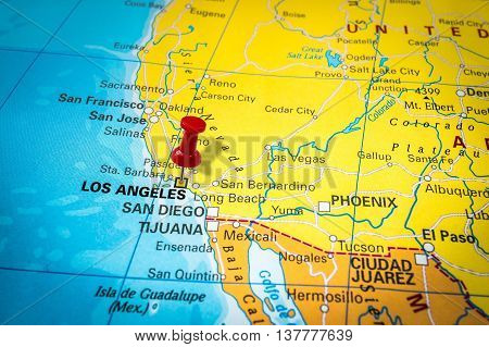 Red Thumbtack In A Map, Pushpin Pointing At Los Angeles