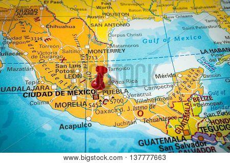 Thumbtack In A Map, Pushpin Pointing At Mexico City