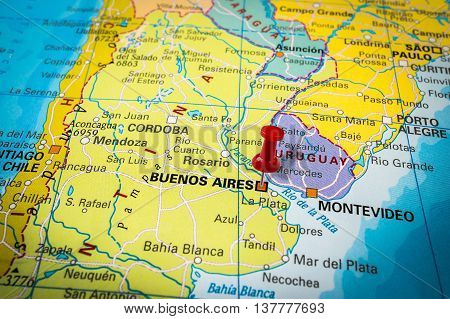 Red Thumbtack In A Map, Pushpin Pointing At Buenos Aires