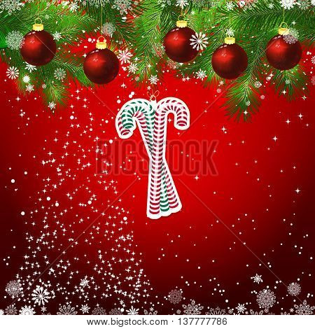 New Year design background. Template card whit red Christmas balls on the green branches . Silhouette of a Christmas tree made of stars. Falling snow. Toy decorative candy canes.