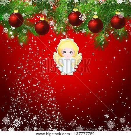 New Year design background. Template card whit red Christmas balls on the green branches . Silhouette of a Christmas tree made of stars. Falling snow. Toy decorative angel.