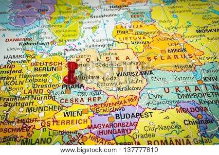 Red Thumbtack In A Map, Pushpin Pointing At Prague
