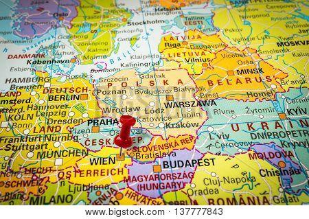 Red Thumbtack In A Map, Pushpin Pointing At Vienna
