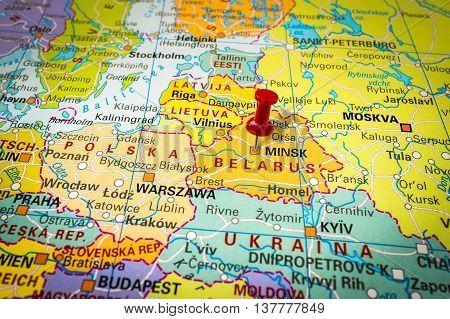 Red Thumbtack In A Map, Pushpin Pointing At Minsk
