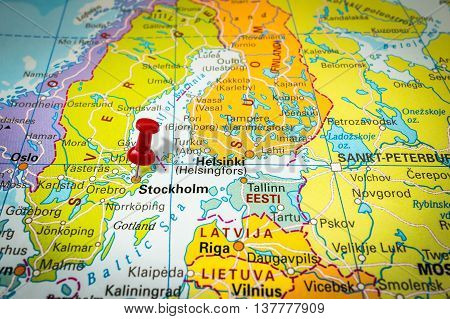 Red Thumbtack In A Map, Pushpin Pointing At Stockholm