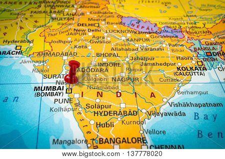 Red Thumbtack In A Map, Pushpin Pointing At Mumbai