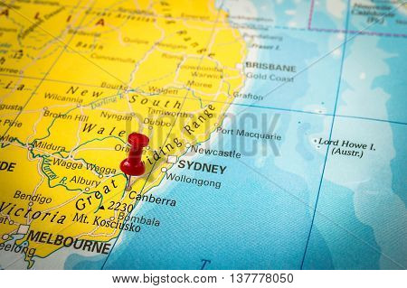 Red Thumbtack In A Map, Pushpin Pointing At Canberra