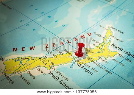 Red Thumbtack In A Map, Pushpin Pointing At Wellington